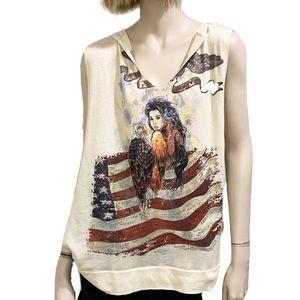 Alberto Makali USA Patriotic Hooded Muscle Shirt
